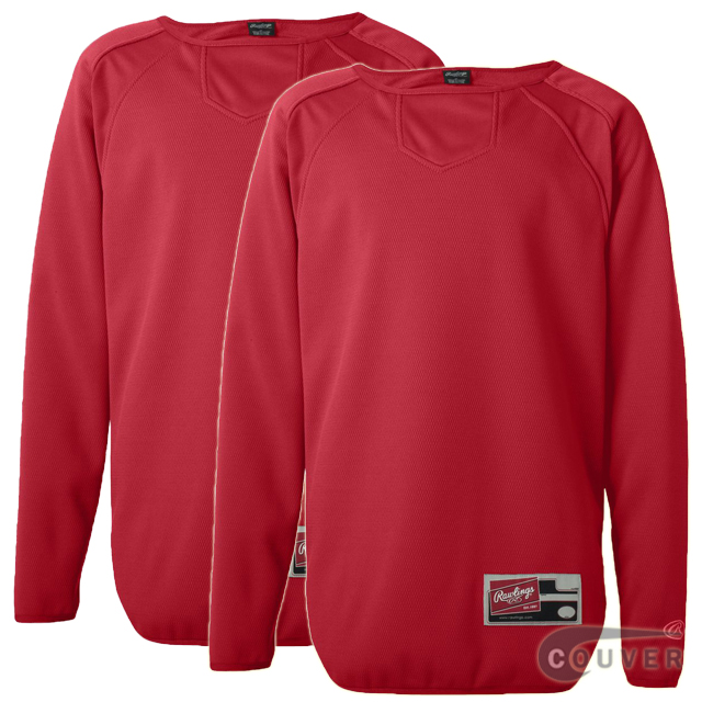 Red Youth Long Sleeve Flatback Mesh Fleece Pullover - 2 Pieces Set
