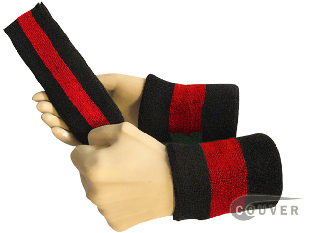 Black red black 2color striped sweatbands set