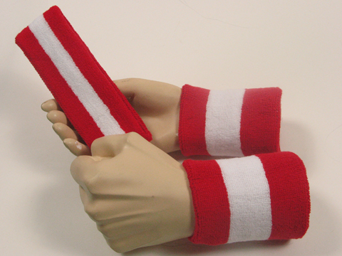 red white red 2color striped sweatbands set