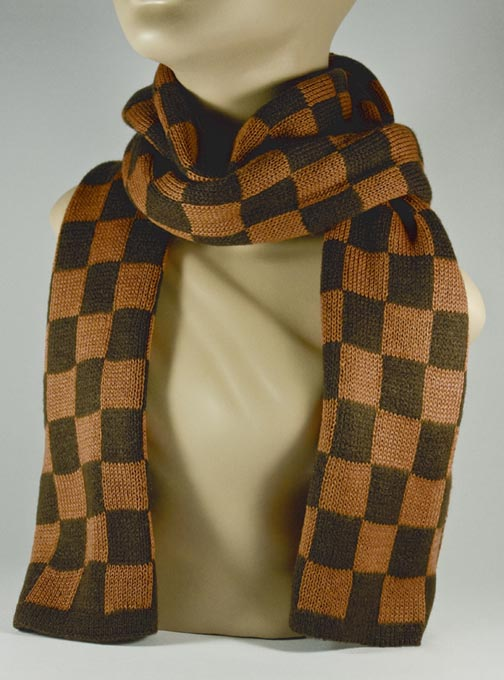 Dark Brown and Tan Check Scarf for Women [1piece]