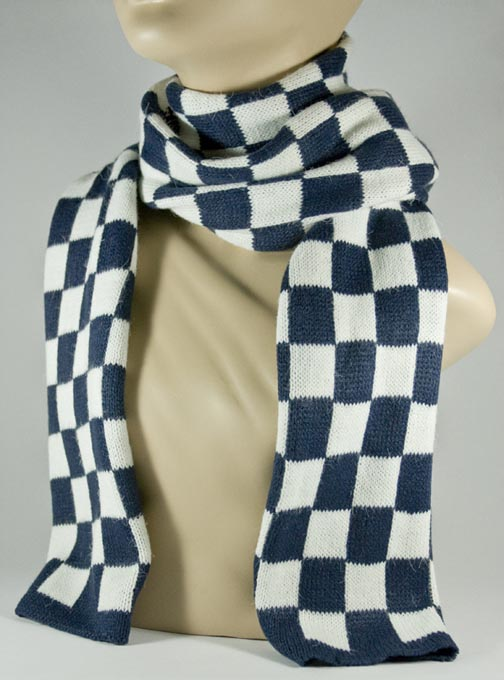 Navy and White Check Scarf for Women [1piece]