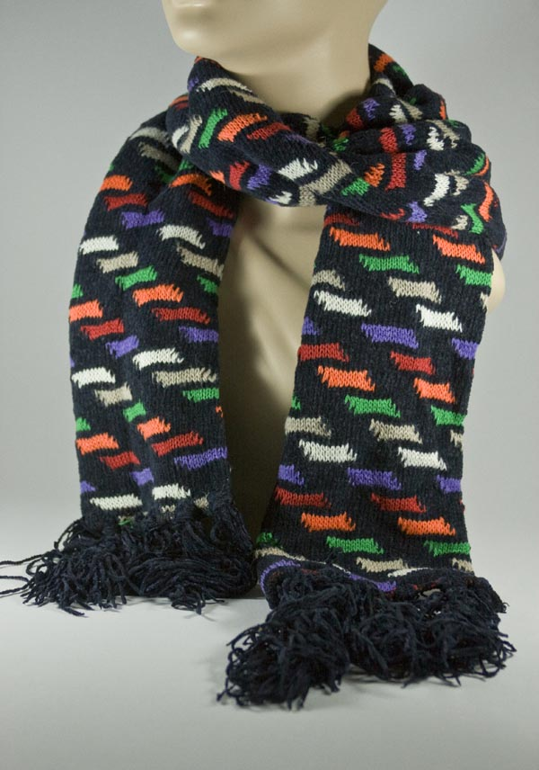 Men's Black Scarf w/ Orange Green Purple Grey Pattern [1piece]
