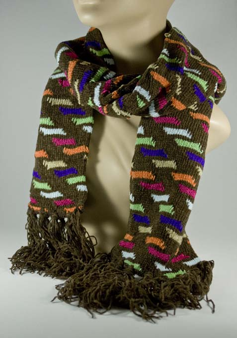 Mens Brown Scarf w Hot Pink Purple Orange Green Pattern [1piece]