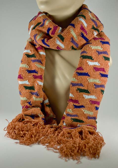 Men's Tan Color Scarf w Hot Pink Purple Blue Pattern [1piece]