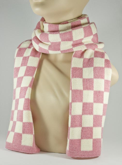 Pink and White Check Scarf for Women [1piece]