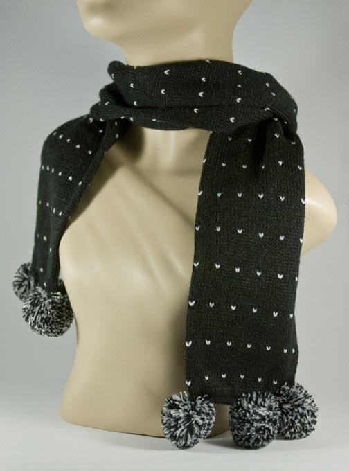 Pom Pom Black Scarf for Girls [1piece]