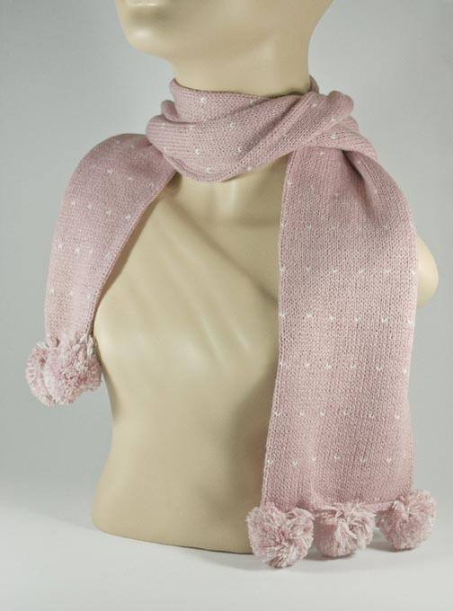 Pom Pom Puce Scarf for Girls [1piece]