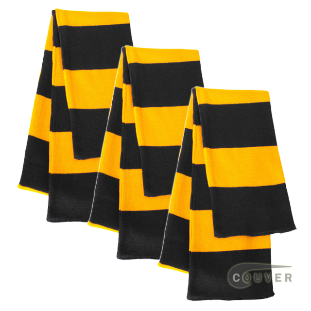Black/Gold Yellow Sportsman Rugby Striped Knit Scarf - 3Pieces Bulk Sale