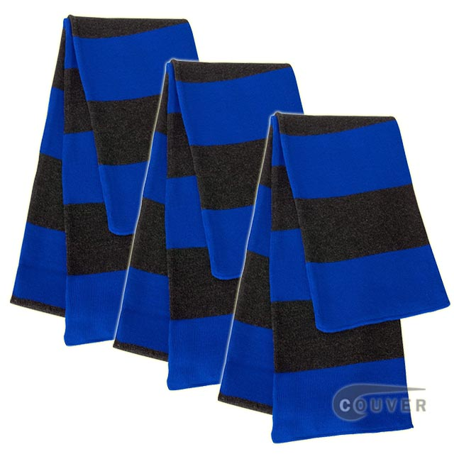 Blue/Charcoal Sportsman Rugby Striped Knit Scarf - 3Pieces Bulk Sale