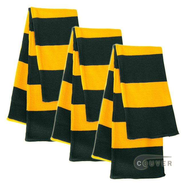 Dark Green/Gold Sportsman Rugby Striped Knit Scarf - 3Pieces Bulk Sale