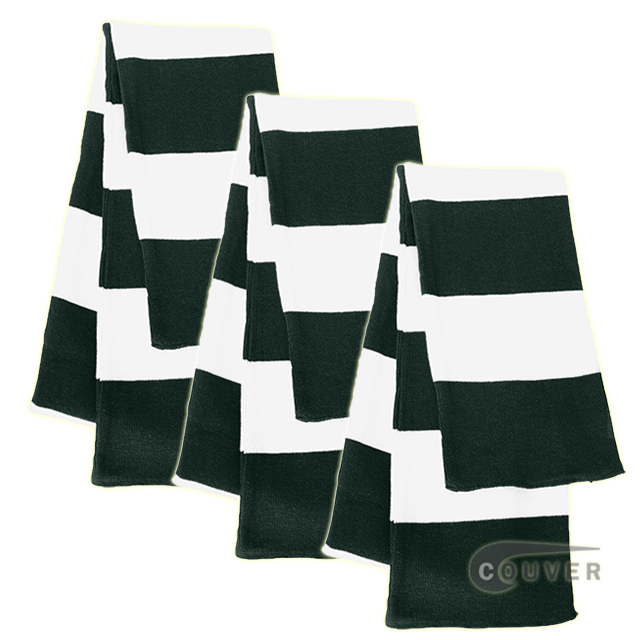 Green/White Sportsman Rugby Striped Knit Scarf - 3Pieces Bulk Sale