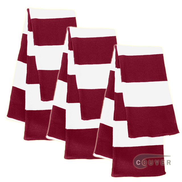 Dark Red/White Sportsman Rugby Striped Knit Scarf - 3Pieces Bulk Sale