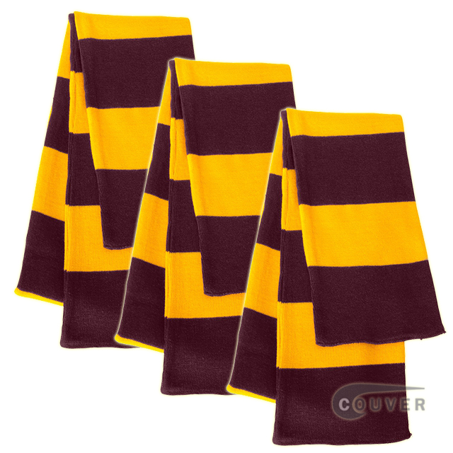 Maroon/Gold Sportsman Rugby Striped Knit Scarf - 3Pieces Bulk Sale