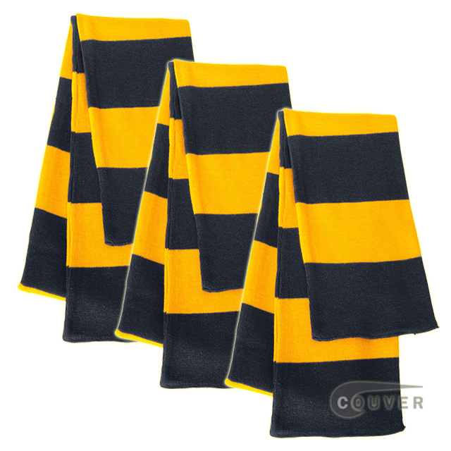 Navy/Gold Sportsman Rugby Striped Knit Scarf - 3Pieces Bulk Sale