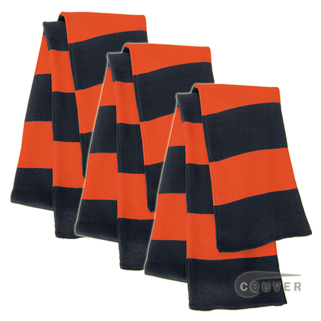 Navy/Orange Sportsman Rugby Striped Knit Scarf - 3Pieces Bulk Sale