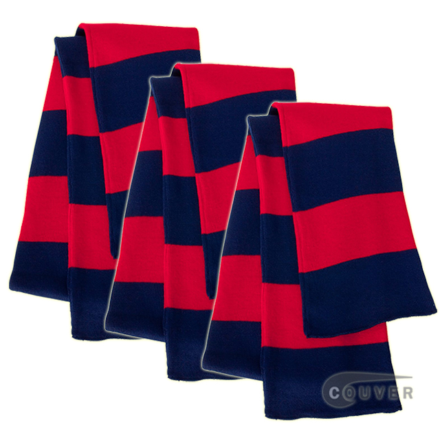Navy/Red Sportsman Rugby Striped Knit Scarf - 3Pieces Bulk Sale