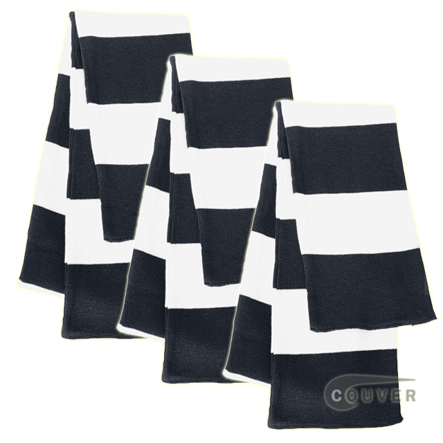 Navy/White Sportsman Rugby Striped Knit Scarf - 3Pieces Bulk Sale