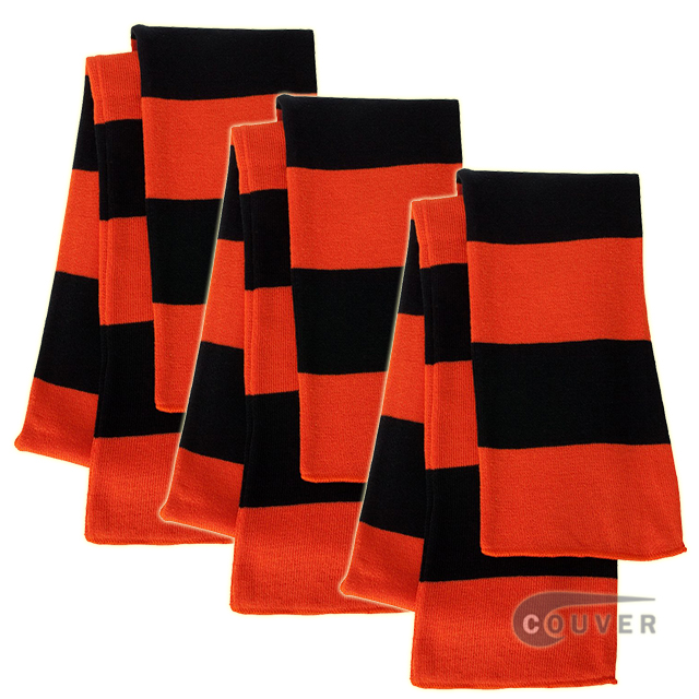 Orange/Black Sportsman Rugby Striped Knit Scarf - 3Pieces Bulk Sale