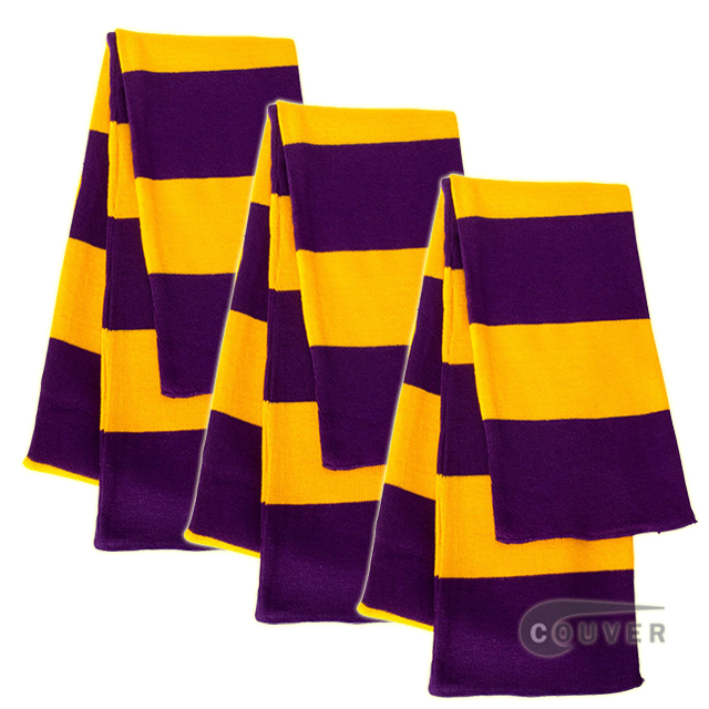 Purple/Gold Sportsman Rugby Striped Knit Scarf - 3Pieces Bulk Sale