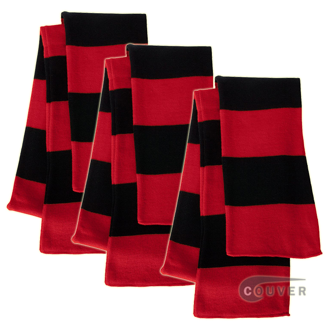 Red/Black Sportsman Rugby Striped Knit Scarf - 3Pieces Bulk Sale