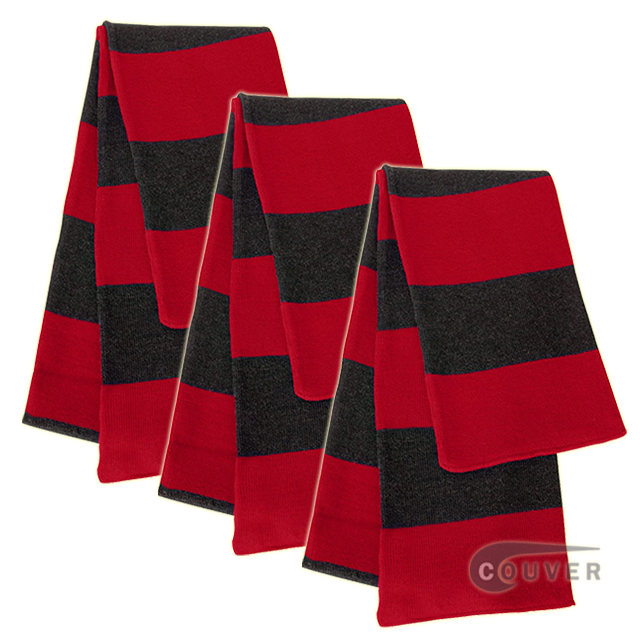 Red/Charcoal Sportsman Rugby Striped Knit Scarf - 3Pieces Bulk Sale