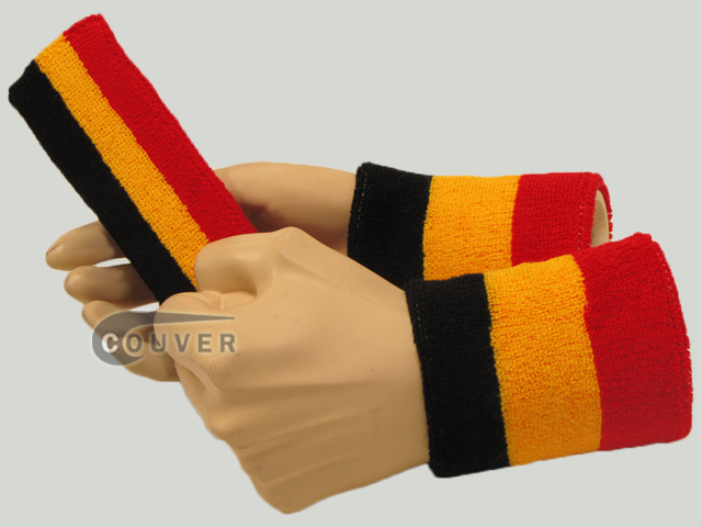 Black Golden Yellow Red 3color striped sweatbands set [3sets]