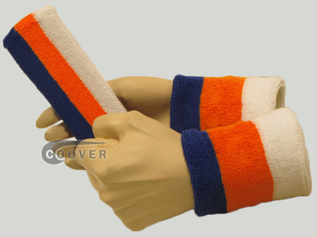Blue Light Orange White 3color striped sweatbands set [3sets]