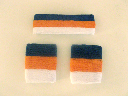 Blue White Orange Stripe Sweat Headband Wristband Set