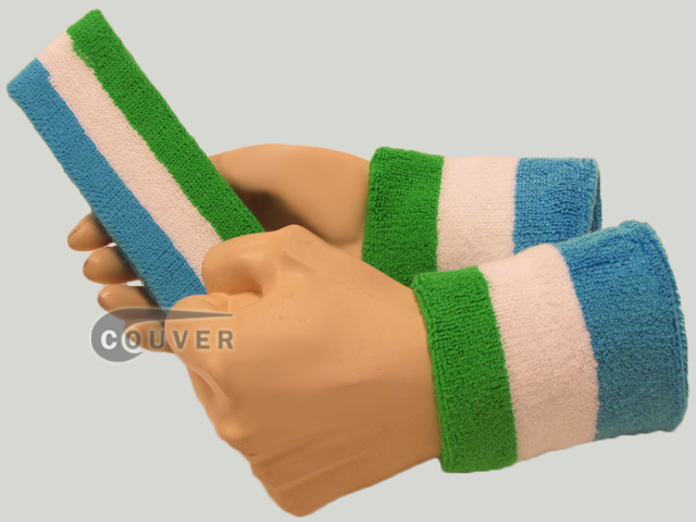 Bright Green White Sky Blue 3color striped sweatbands set [3sets]