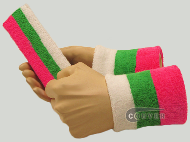 Bright Pink Bright Green White 3color striped sweatbands set [3sets]