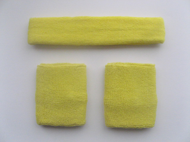 Bright Yellow Sports Headband Bright-Yellow Wristbands Set