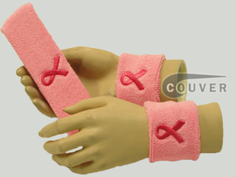 Light pink headband and wristband with Bright Pink Ribbon Set[3 sets]]