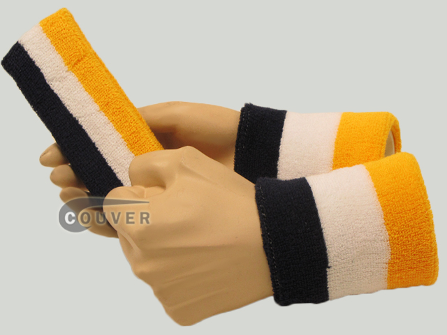 Navy White Yellow 3color striped sweatbands set [3sets]