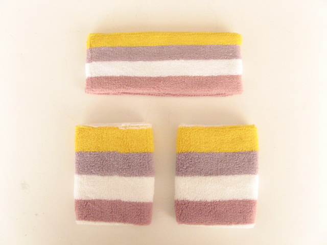 Yellow Lilac White Mauve Stripe Wristbands Headband Set [3sets]