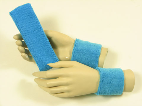 Sky blue sports headband Sky blue sweat wristbands set [3sets]