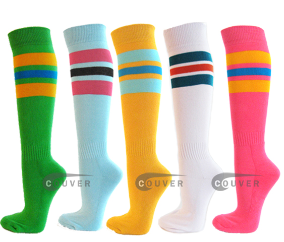 3color stripe knee softball sock
