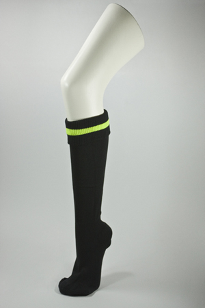 Black Soccer Socks with Neon Yellow Line [3Pairs]