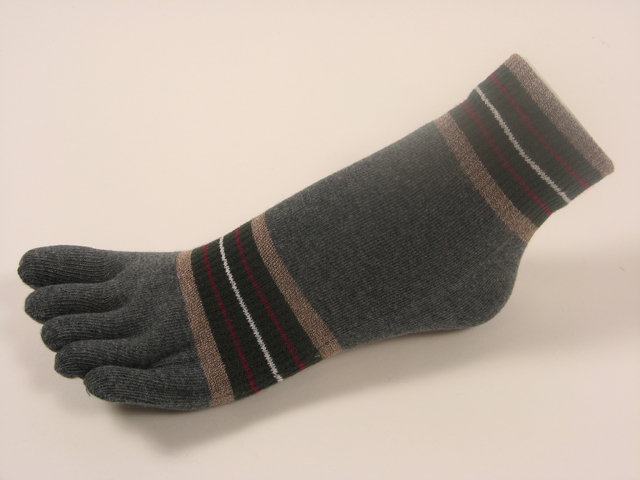 Charcoal ankle toe socks striped w khaki olive green