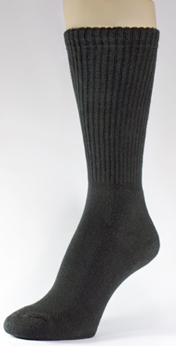 Black Athletic Running Mid Calf Crew Cotton Socks 3PAIRS