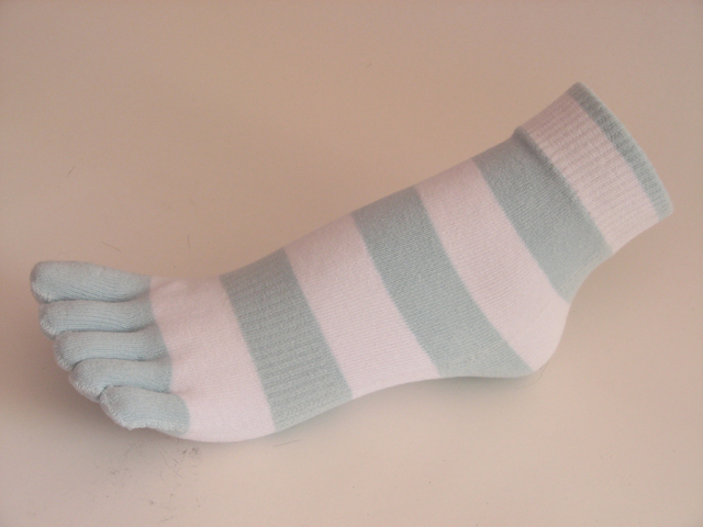 Baby Pale Blue White Striped Ankle Toe Socks from Couver, 6Piars