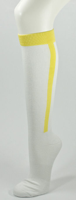 Yellow Stripe in White Baseball Softball Cotton Socks