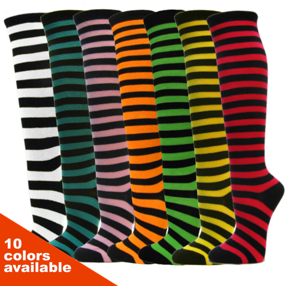 Black & Bright Color Striped Non-Athletic Knee Socks 6PAIRs pack