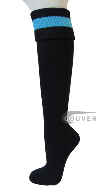 Black with Sky Blue Soccer Football Socks from Couver 3PAIRs