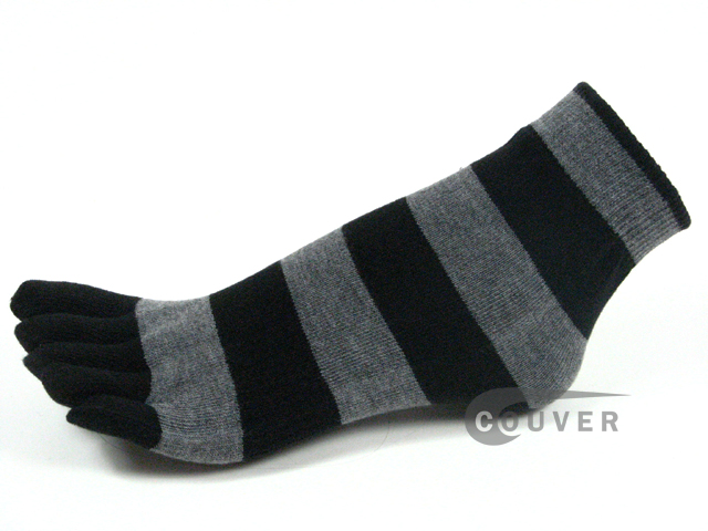 Black and Grey Striped COUVER Cute Ankle Toe Toe Socks, 6Pairs