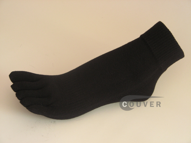 Black COUVER 5finger Toed Ankle Toe Socks Wholesale, 6PRs