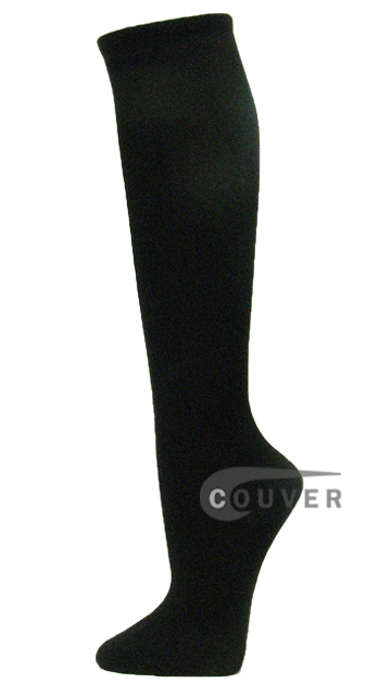 Black Cotton Fashion/Casual Knee High Socks from Couver 6PAIRS