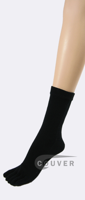 Black Couver Five Finger Toed Toe Socks Quarter Wholesale, 6PRS