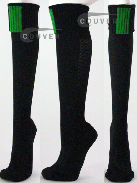 Black Soccer COUVER Knee High Socks with Green in front, 3Pairs