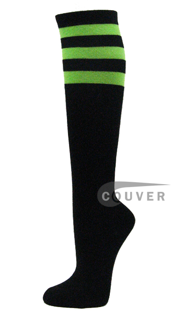 Bright Lime Green Stripes on Black COUVER Cotton Fashion Knee Socks 6PRs