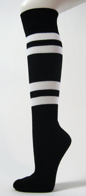 Black with 4White Stripes Couver Sports Knee High Socks 3PRs
